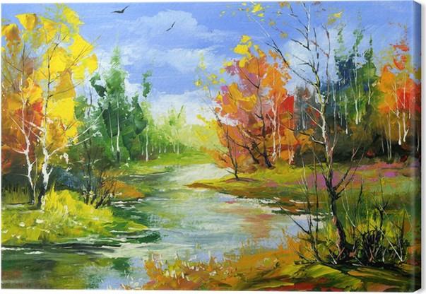 Quadro su Tela Autunno paesaggio con il fiume di legno • Pixers ...