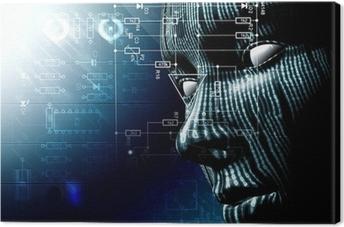 Quadro su Tela Background tecnologico con il viso. Codice binario, concetto di internet