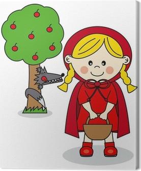 Carta da parati bambini story. cappuccetto rosso e il lupo cattivo