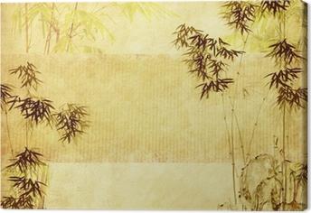 Quadro su Tela Bambù sulla vecchia carta grunge texture di sfondo