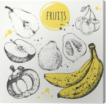 Quadro su Tela Banana, mangostano, mela, bergamotto. Hand drawn set con cibo fresco.