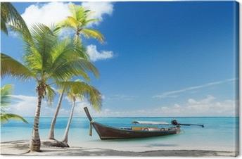 Quadro su Tela Barca di legno sulla spiaggia