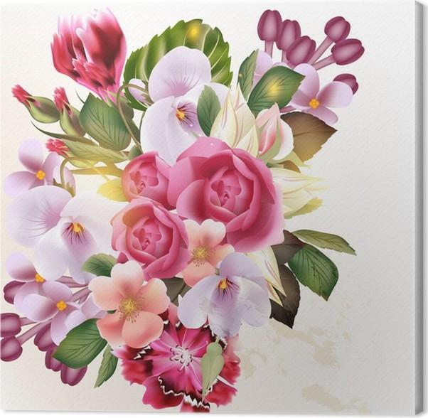 Quadro su Tela Beautiful vector sfondo floreale con fiori ...