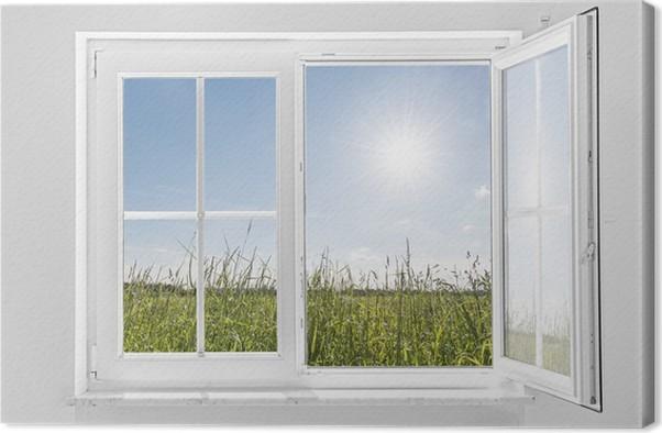 Quadro Su Tela Bianco Finestra Aperta A Met Con Il Sole