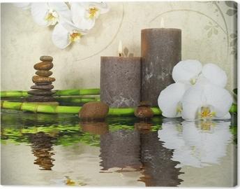 Quadro su Tela Bianco, orchidee e bambù con le candele e le pietre