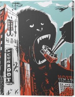 Quadro su Tela Big Gorilla distrugge Città
