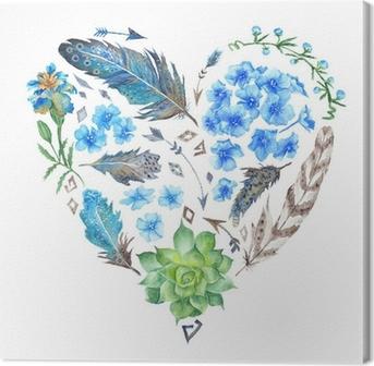 Quadro su Tela Boho Style Watercolor Heart Shape
