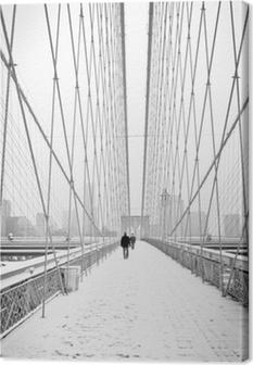 Quadro su Tela Brooklyn Bridge - bianco e nero