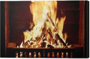 Quadro su Tela Brucia il fuoco nel camino