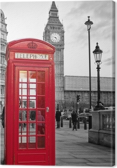 Quadro su Tela Cabina telefonica rossa di Londra con il Big Ben in bianco e nero