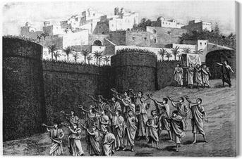 Quadro su Tela Caduta delle mura di Gerico - scena biblica