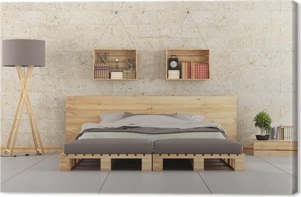 Quadro su Tela Camera da letto moderna con letto pallet sul muro di ...