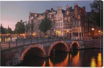 Quadro su Tela Canale di Amsterdam al crepuscolo, Paesi Bassi