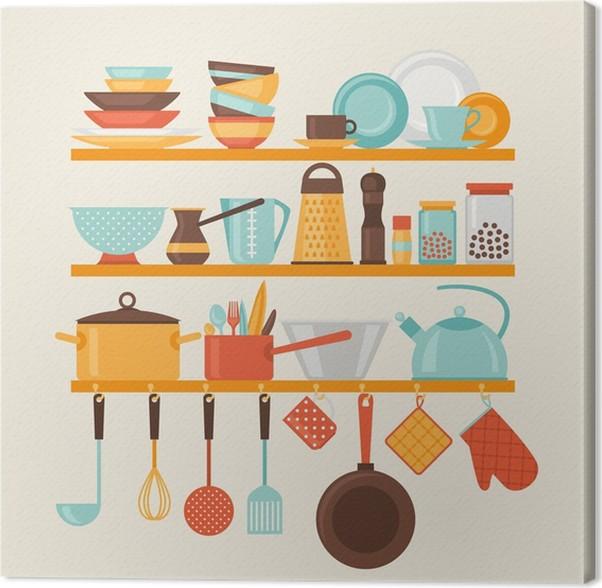 Quadro su tela card con mensole della cucina e utensili da for Quadri da cucina