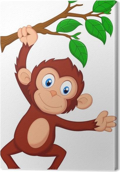 Quadro su tela carino cartone animato scimmia appesa