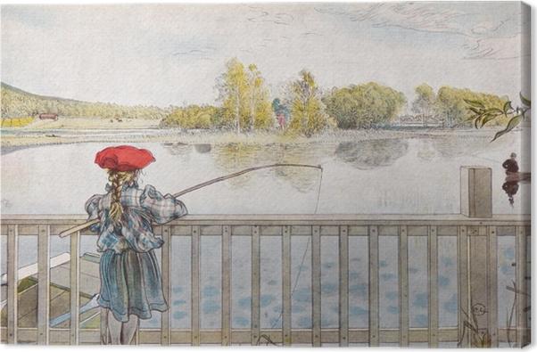 Quadro su Tela Carl Larsson - Lisbeth mentre pesca - Reproductions