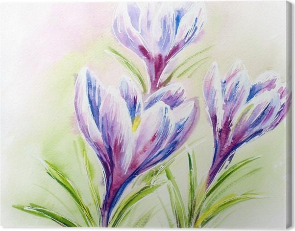 Quadro su Tela Carta acquerello dipinto con fiori di croco • Pixers ...