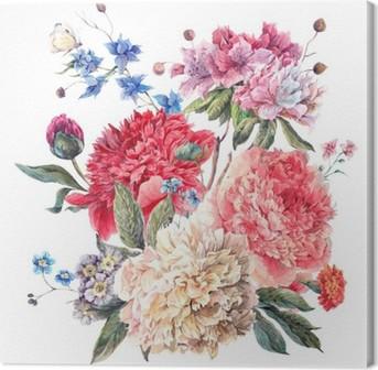 Quadro su Tela Cartolina d'auguri floreale Vintage con fioritura Peonie