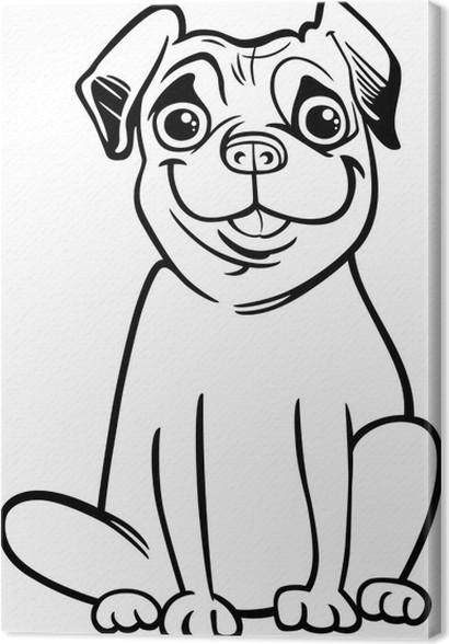 Quadro su tela cartone animato cane carlino per il libro