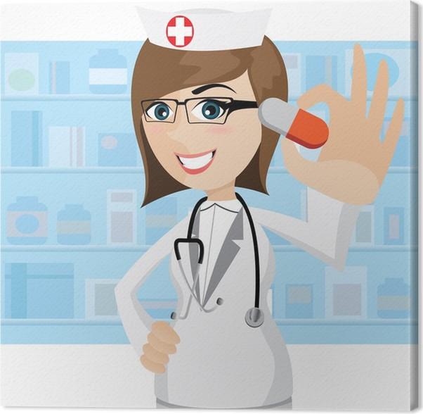 Quadro su tela cartone animato farmacista che mostra le