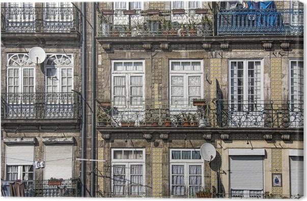 Quadro su tela casa con azulejos piastrelle porto portogallo