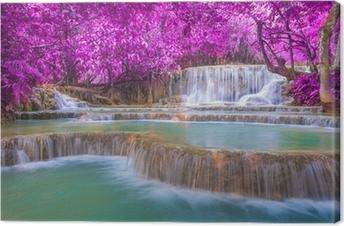Quadro su Tela Cascata nella foresta pluviale (cascate di Kuang Si Tat a Luang Praba