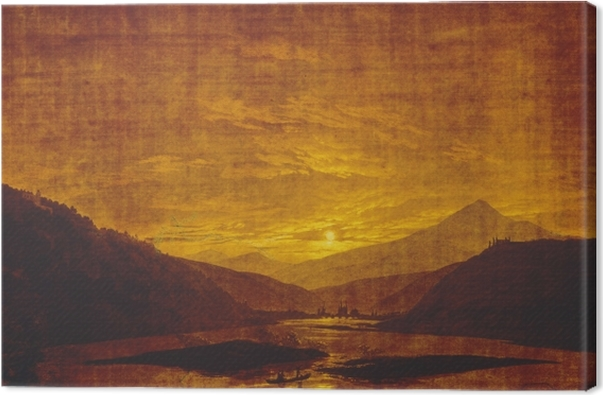 Quadro su Tela Caspar David Friedrich - Paesaggio montano con fiume - Reproductions