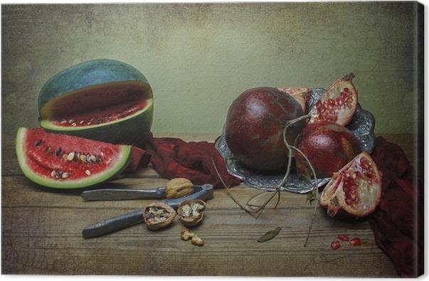 Quadro su Tela Classica natura morta con anguria e melograno messo ...