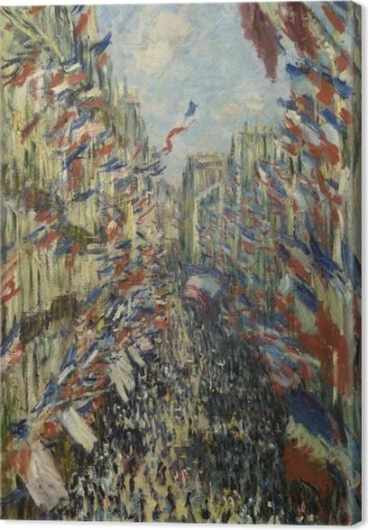 Quadro su Tela Claude Monet - Montargueil Rue con bandiere - Riproduzioni