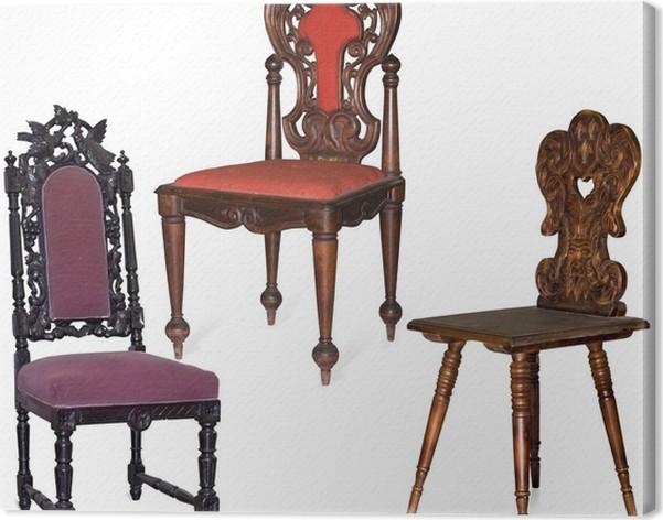 Quadro su Tela Collezione di sedie antiche intagliate in legno ...