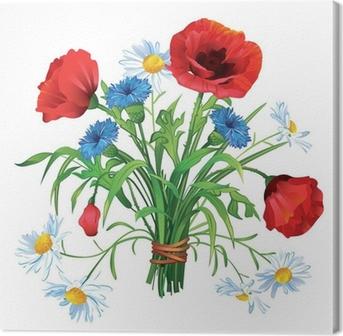 Quadro su Tela Colorata estate mazzo di fiori di campo su uno sfondo ...