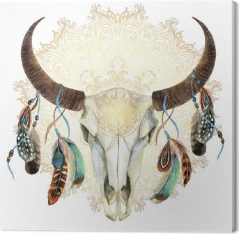 Quadro su Tela Cranio mucca acquerello con piume