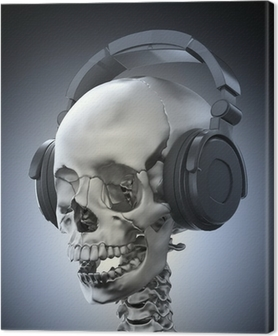 Quadro su Tela Cranio umano con le cuffie