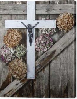 Quadro su Tela Croce di legno e fiori ortensia bianco su sfondo delle antiche mura in legno