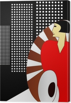 Quadro su Tela Deco Art Style Poster, con un elegante Donna 1930