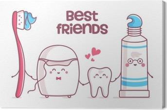 Quadro su Tela Dente, dentifricio, filo interdentale, spazzolino da denti