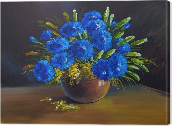 Quadro su Tela Dipinto ad olio - natura morta, un mazzo di fiori ...