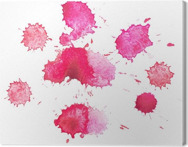 Quadro su tela disegnato goccia rossa splatter acquerello astratto