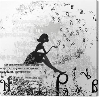 Quadro su Tela Disegno astratto con un testo grunge ragazza