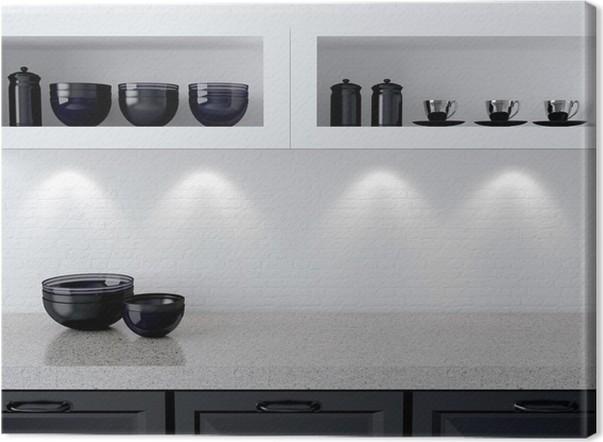 Quadro su Tela Disegno della cucina bianca e nera. • Pixers ...