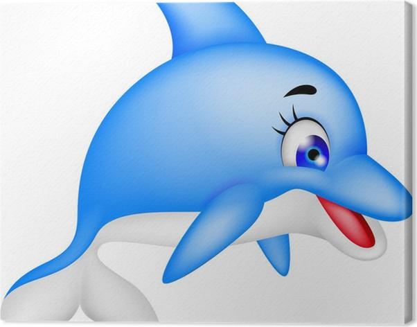 Quadro su tela divertente cartone animato delfino pixers