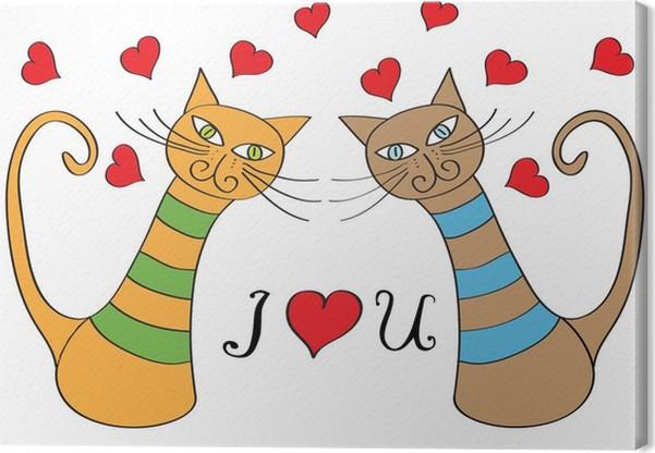 Quadro su tela divertente cartone animato gatti in amore