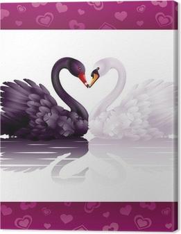 Quadro su Tela Due cigni graziosi in amore: il cuore bianco e nero