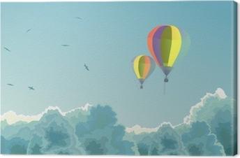 Quadro su tela due mongolfiere nel cielo con le nuvole. u2022 pixers