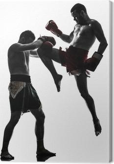 Quadro su Tela Due uomini che esercitano thai boxe silhouette