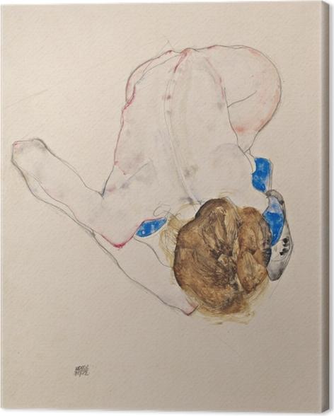 Quadro su Tela Egon Schiele - Nudo con Blue Stockings, piegandosi in avanti - Riproduzioni
