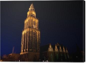 Quadro su Tela Famoso Martinitoren (torre Martini) a Groningen durante la notte