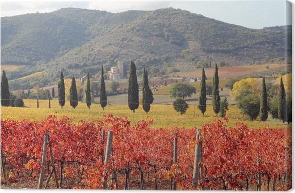 Quadro su Tela Fantastico paesaggio dei vigneti toscani in autunno ...