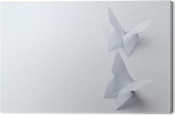 Quadro su Tela Farfalle di origami su sfondo bianco