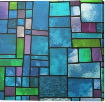 Quadro su Tela Finestra di vetro blu macchiato multicolore, formato quadrato